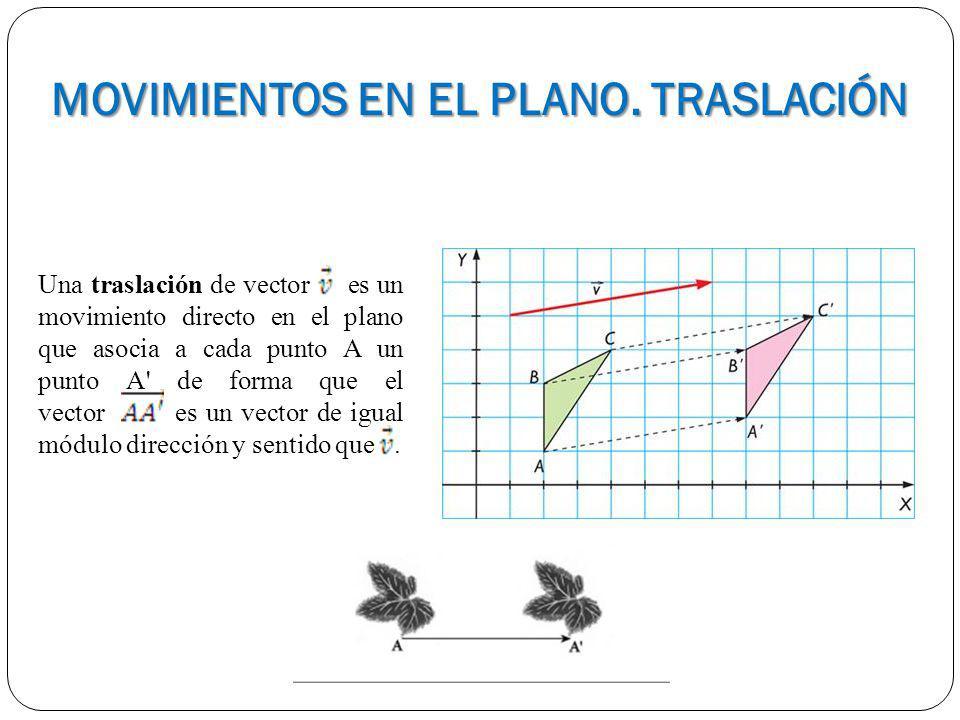 MOVIMIENTOS EN EL PLANO. TRASLACIÓN Una traslación de vector es un movimiento directo en el plano que asocia a cada punto A un punto A' de forma que e