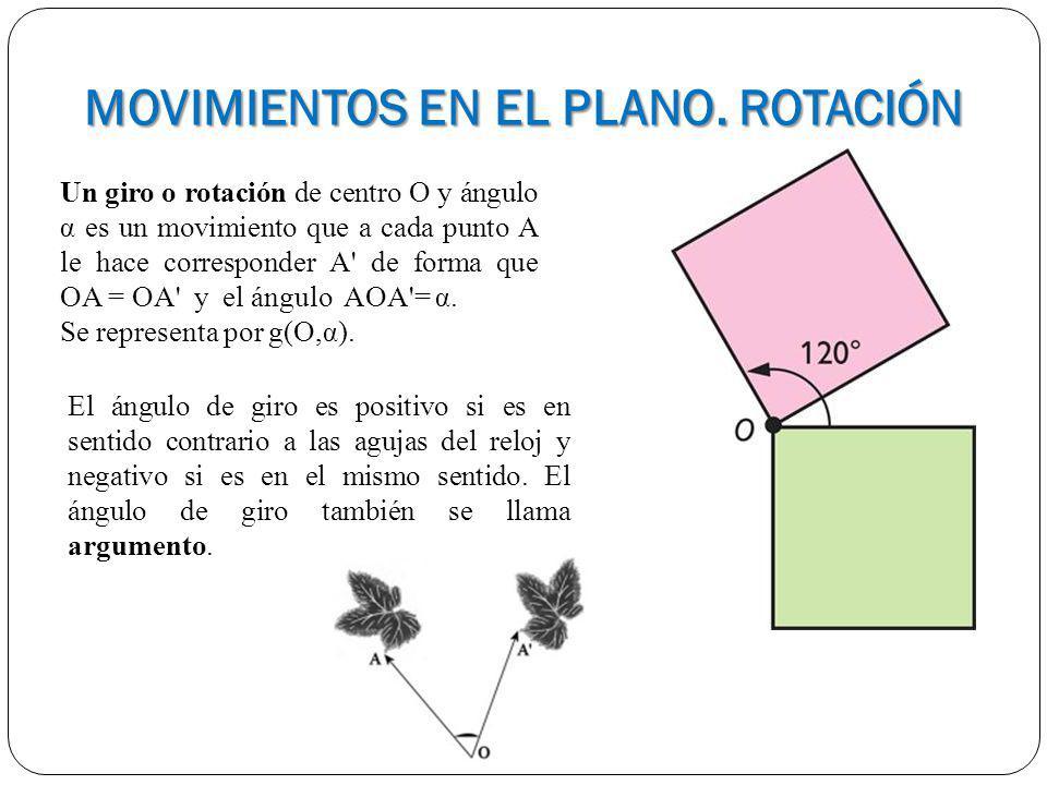 MOVIMIENTOS EN EL PLANO. ROTACIÓN Un giro o rotación de centro O y ángulo α es un movimiento que a cada punto A le hace corresponder A' de forma que O