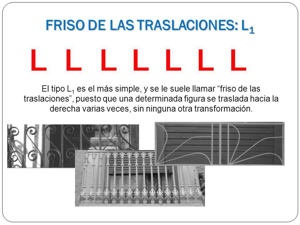 LLLLLLL El tipo L 1 es el más simple, y se le suele llamar friso de las traslaciones, puesto que una determinada figura se traslada hacia la derecha v