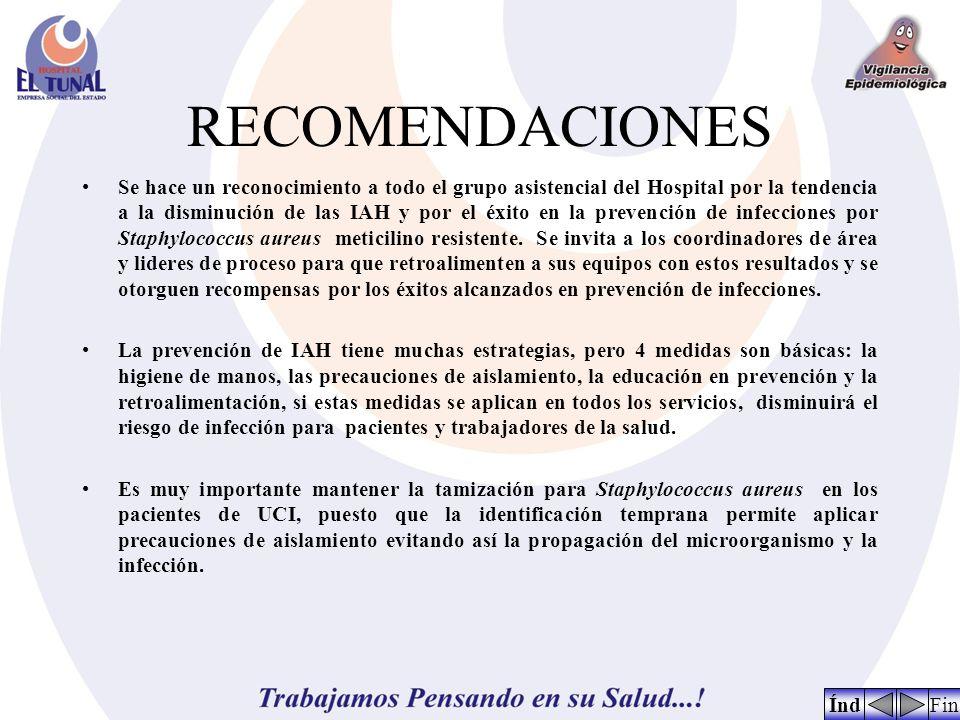 RECOMENDACIONES Se hace un reconocimiento a todo el grupo asistencial del Hospital por la tendencia a la disminución de las IAH y por el éxito en la p