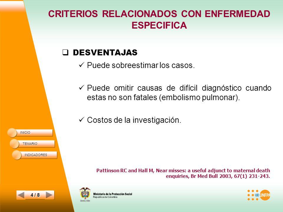 CRITERIOS RELACIONADOS CON ENFERMEDAD ESPECIFICA INICIO TEMARIO 4 / 8 DESVENTAJAS Puede sobreestimar los casos.