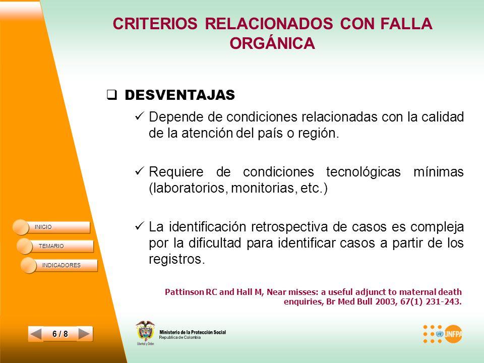 CRITERIOS RELACIONADOS CON FALLA ORGÁNICA INICIO TEMARIO 6 / 8 DESVENTAJAS Depende de condiciones relacionadas con la calidad de la atención del país o región.