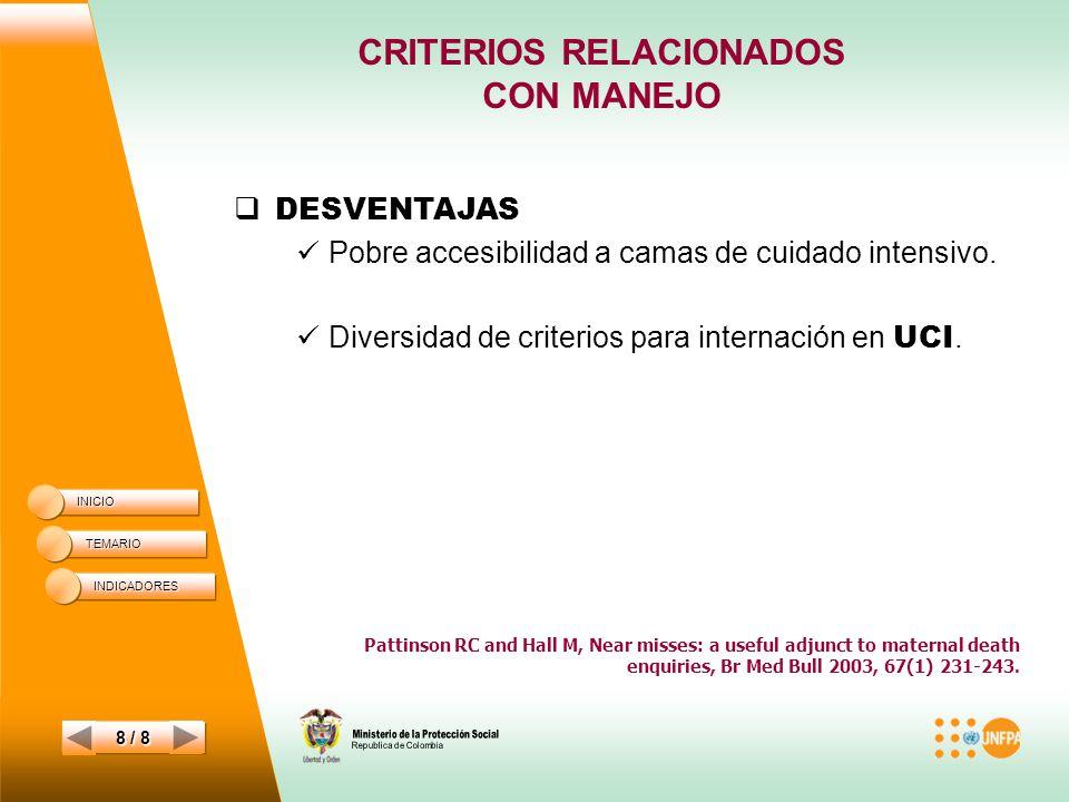 CRITERIOS RELACIONADOS CON MANEJO INICIO TEMARIO 8 / 8 DESVENTAJAS Pobre accesibilidad a camas de cuidado intensivo.