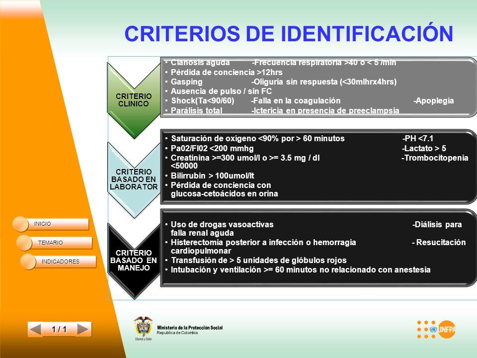 CRITERIOS DE IDENTIFICACIÓN INICIO TEMARIO 1 / 1 INDICADORES