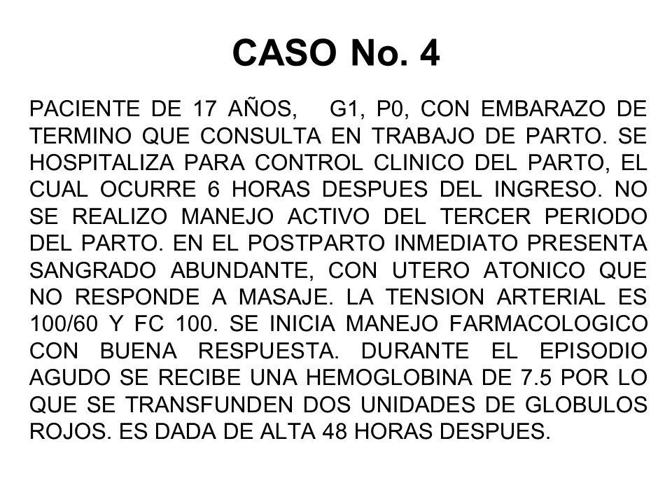 CASO No.4 PACIENTE DE 17 AÑOS, G1, P0, CON EMBARAZO DE TERMINO QUE CONSULTA EN TRABAJO DE PARTO.