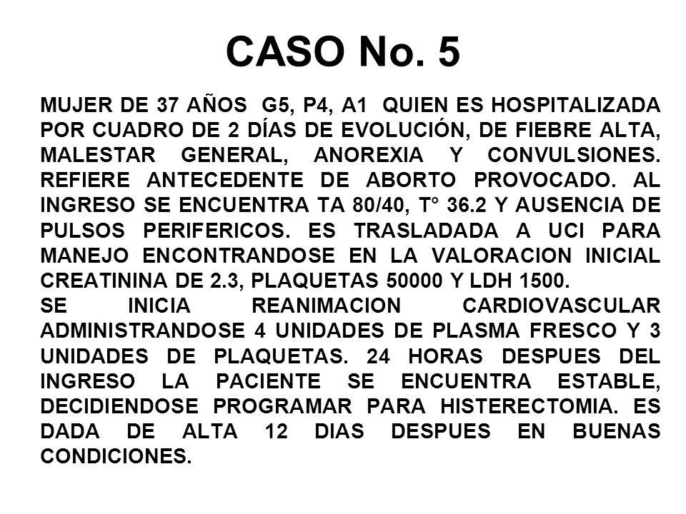 MUJER DE 37 AÑOS G5, P4, A1 QUIEN ES HOSPITALIZADA POR CUADRO DE 2 DÍAS DE EVOLUCIÓN, DE FIEBRE ALTA, MALESTAR GENERAL, ANOREXIA Y CONVULSIONES.