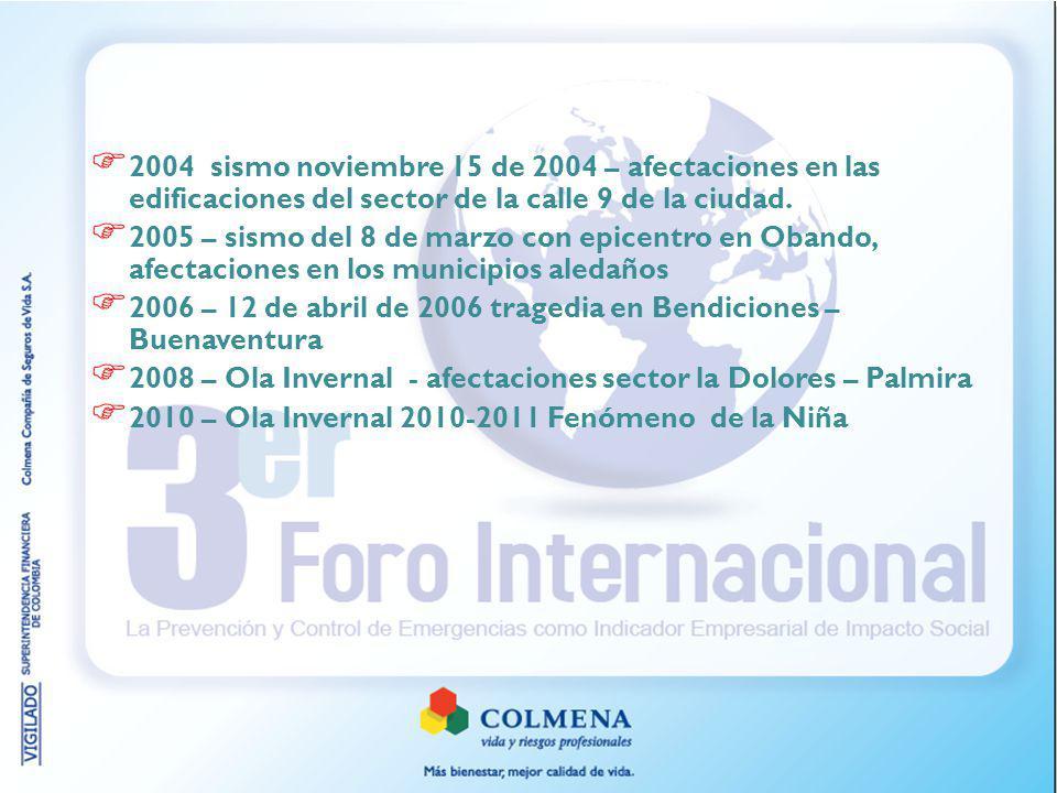 2004 sismo noviembre 15 de 2004 – afectaciones en las edificaciones del sector de la calle 9 de la ciudad. 2005 – sismo del 8 de marzo con epicentro e