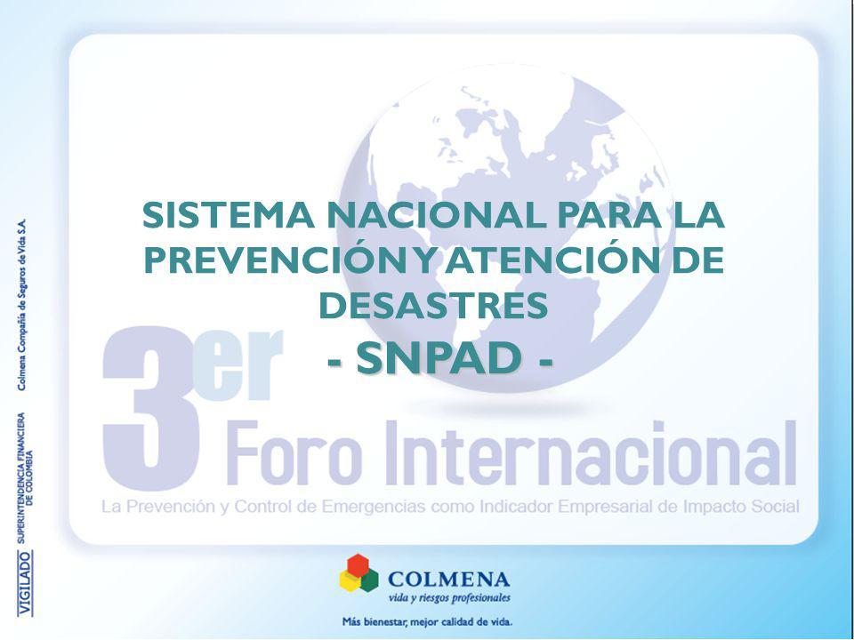 - SNPAD - SISTEMA NACIONAL PARA LA PREVENCIÓN Y ATENCIÓN DE DESASTRES - SNPAD -
