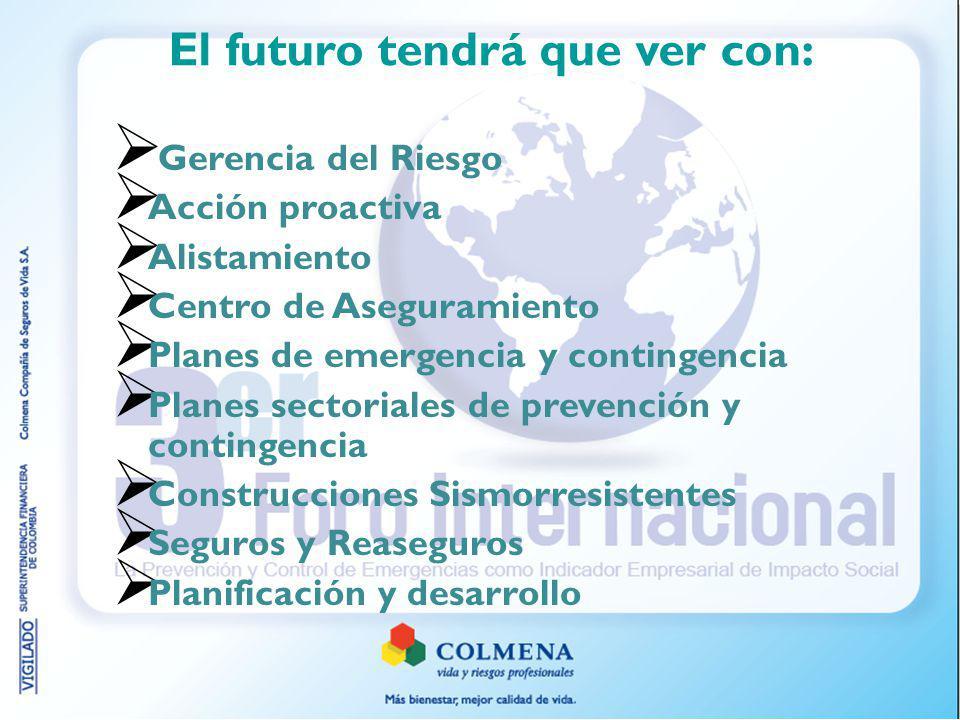 El futuro tendrá que ver con: Gerencia del Riesgo Acción proactiva Alistamiento Centro de Aseguramiento Planes de emergencia y contingencia Planes sectoriales de prevención y contingencia Construcciones Sismorresistentes Seguros y Reaseguros Planificación y desarrollo