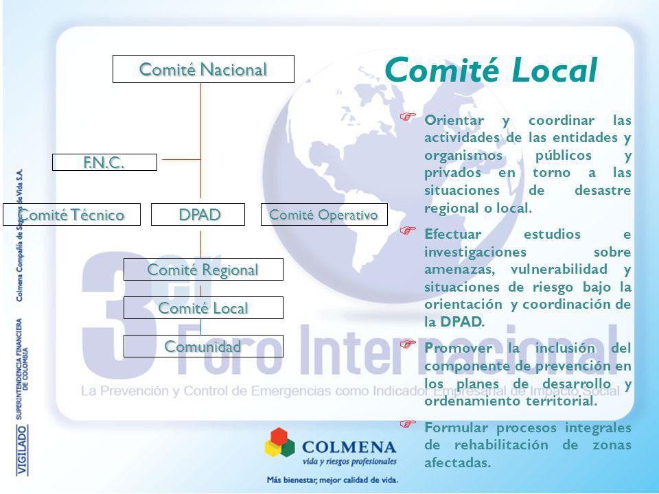 Comité Nacional DPAD DPAD Comité Regional Comité Operativo F.N.C. Comunidad Comité Técnico Comité Local Orientar y coordinar las actividades de las en