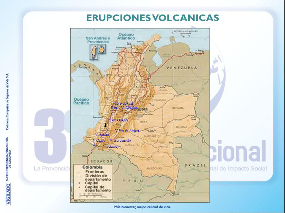 V. Nevado del Ruiz V. SantaIsabel V. Machin V.Pan de Azúcar V. Bordoncillo V.Azufral V.Cumb al V.Patascoy ERUPCIONES VOLCANICAS