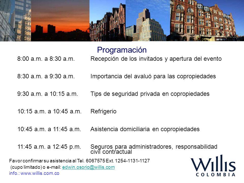 Programación 8:00 a.m. a 8:30 a.m. Recepción de los invitados y apertura del evento 8:30 a.m. a 9:30 a.m.Importancia del avaluó para las copropiedades