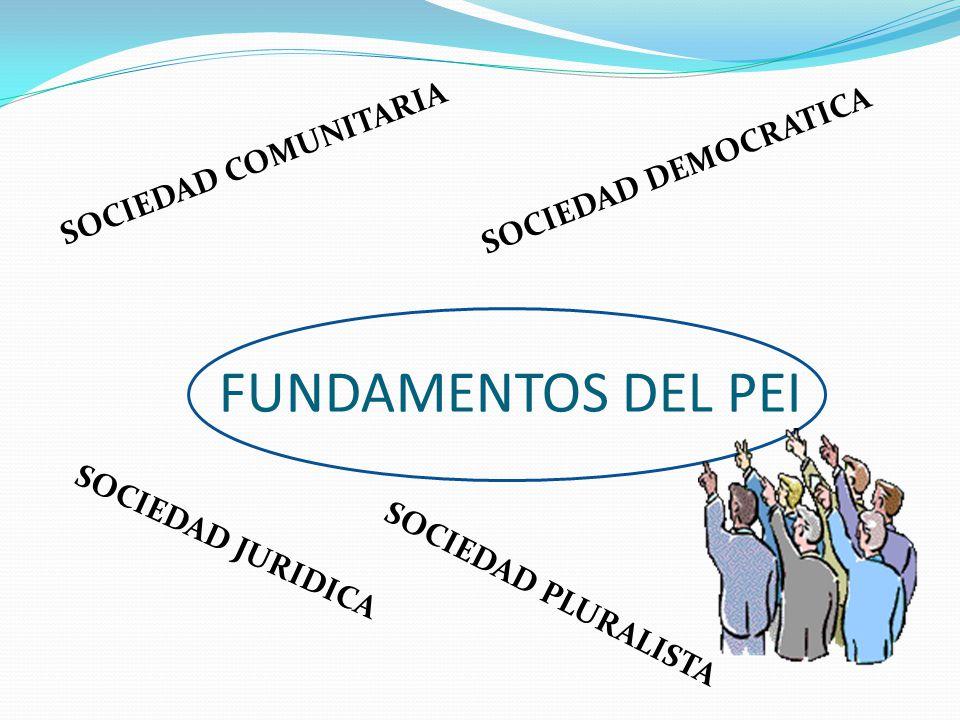 FUNDAMENTOS DEL PEI SOCIEDAD COMUNITARIA SOCIEDAD JURIDICA SOCIEDAD PLURALISTA SOCIEDAD DEMOCRATICA