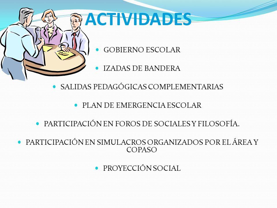 ACTIVIDADES GOBIERNO ESCOLAR IZADAS DE BANDERA SALIDAS PEDAGÓGICAS COMPLEMENTARIAS PLAN DE EMERGENCIA ESCOLAR PARTICIPACIÓN EN FOROS DE SOCIALES Y FIL