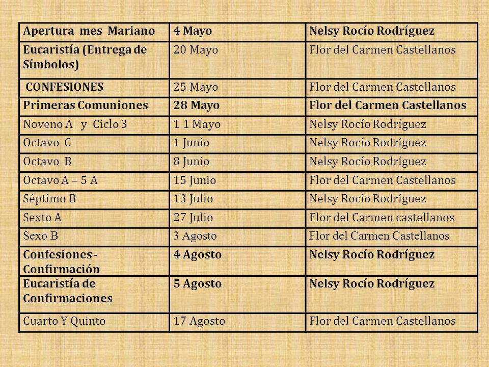 Apertura mes Mariano4 MayoNelsy Rocío Rodríguez Eucaristía (Entrega de Símbolos) 20 MayoFlor del Carmen Castellanos CONFESIONES25 MayoFlor del Carmen