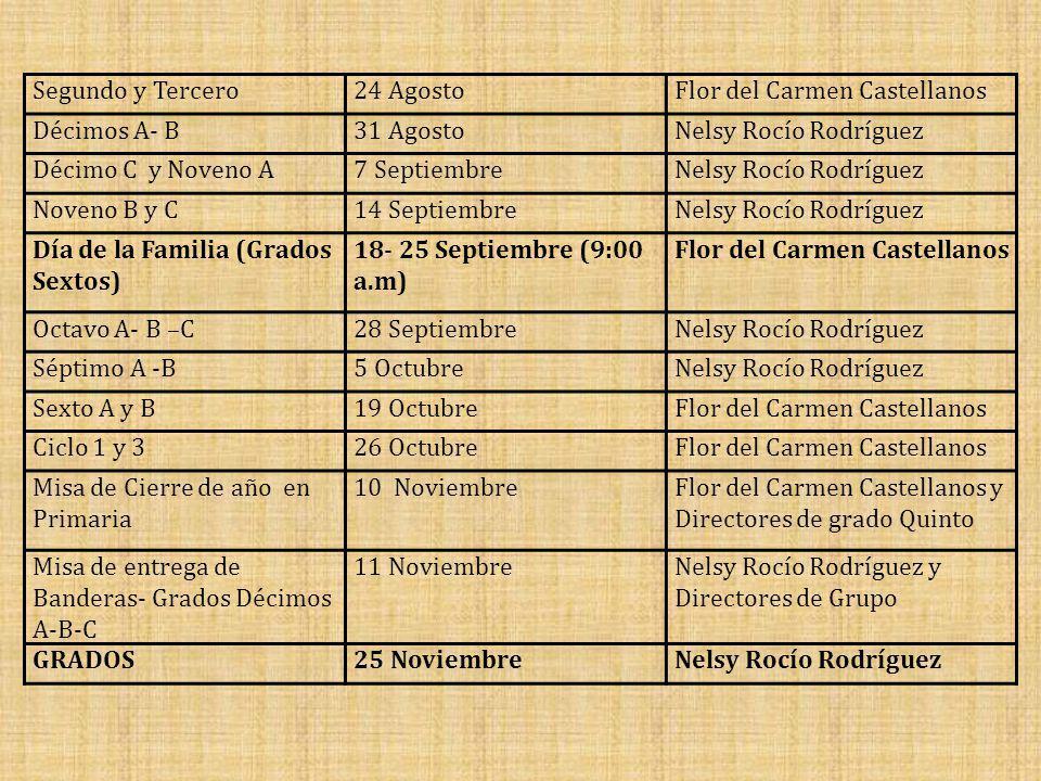 Segundo y Tercero24 AgostoFlor del Carmen Castellanos Décimos A- B31 AgostoNelsy Rocío Rodríguez Décimo C y Noveno A7 SeptiembreNelsy Rocío Rodríguez