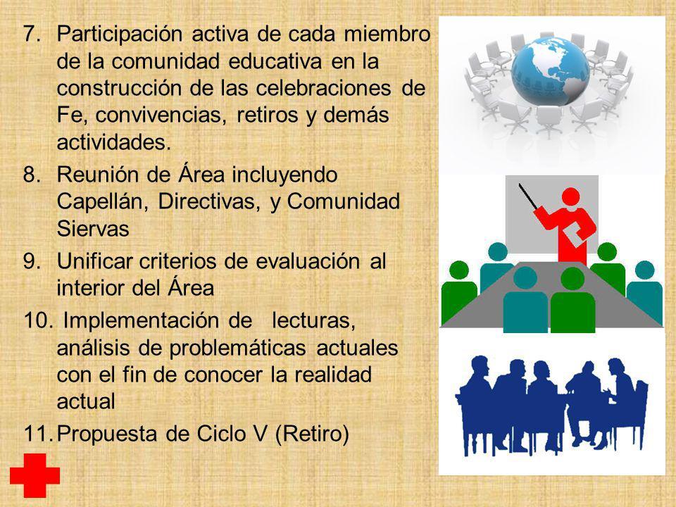 7.Participación activa de cada miembro de la comunidad educativa en la construcción de las celebraciones de Fe, convivencias, retiros y demás actividades.