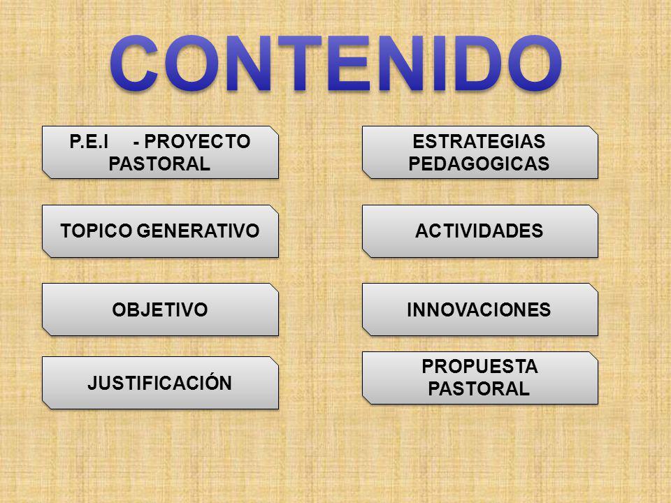 TOPICO GENERATIVO OBJETIVO JUSTIFICACIÓN ESTRATEGIAS PEDAGOGICAS ESTRATEGIAS PEDAGOGICAS ACTIVIDADES INNOVACIONES PROPUESTA PASTORAL PROPUESTA PASTORAL P.E.I - PROYECTO PASTORAL P.E.I - PROYECTO PASTORAL