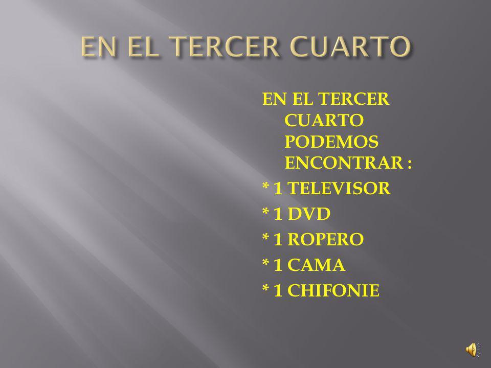 EL SEGUNDO CUARTO ESTA CONFORMADO POR: * 1 CAMAROTE * 1 TELEVISOR *2 MESITAS DE NOCHE *1 CHIFONIE