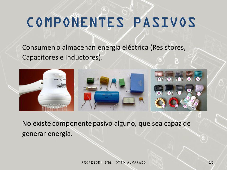 COMPONENTES PASIVOS Consumen o almacenan energía eléctrica (Resistores, Capacitores e Inductores). No existe componente pasivo alguno, que sea capaz d