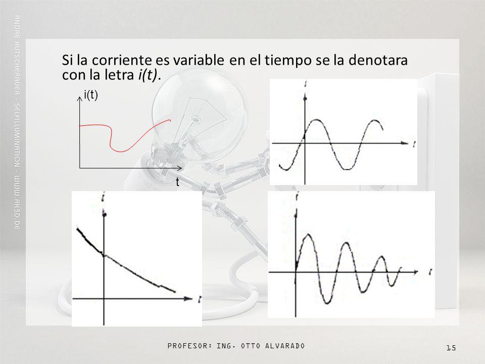 PROFESOR: ING. OTTO ALVARADO 15 Si la corriente es variable en el tiempo se la denotara con la letra i(t). i(t) t
