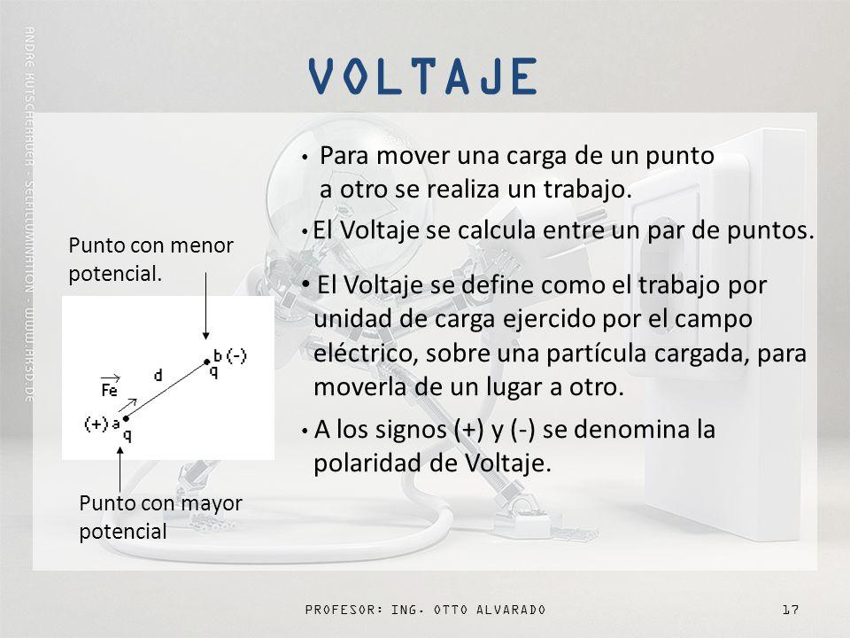 PROFESOR: ING. OTTO ALVARADO17 Para mover una carga de un punto a otro se realiza un trabajo. El Voltaje se calcula entre un par de puntos. A los sign