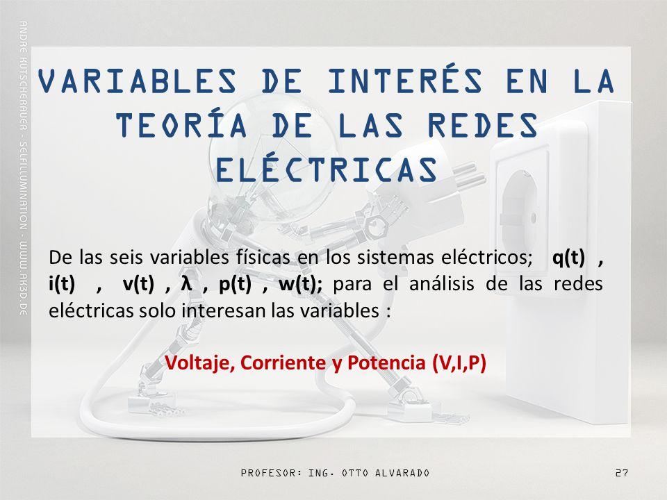 PROFESOR: ING. OTTO ALVARADO27 D e las seis variables físicas en los sistemas eléctricos; q(t), i(t), v(t), λ, p(t), w(t); para el análisis de las red