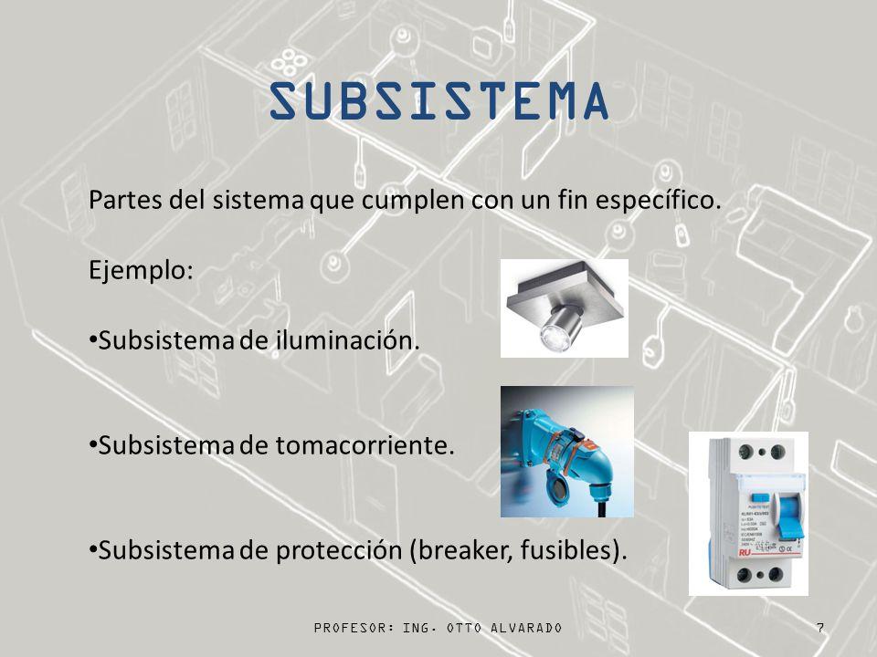 PROFESOR: ING. OTTO ALVARADO 7 Partes del sistema que cumplen con un fin específico. Ejemplo: Subsistema de iluminación. Subsistema de tomacorriente.