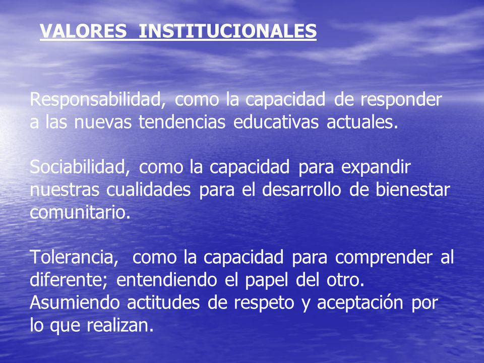 VALORES INSTITUCIONALES Responsabilidad, como la capacidad de responder a las nuevas tendencias educativas actuales.