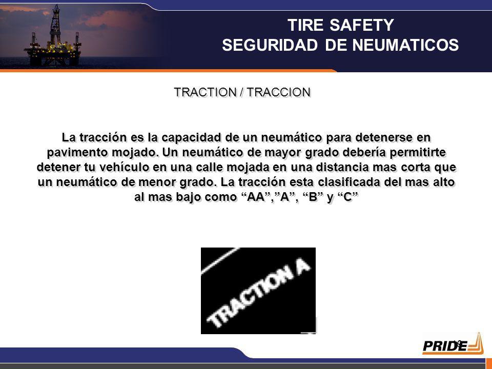 19 TRACTION / TRACCION La tracción es la capacidad de un neumático para detenerse en pavimento mojado.