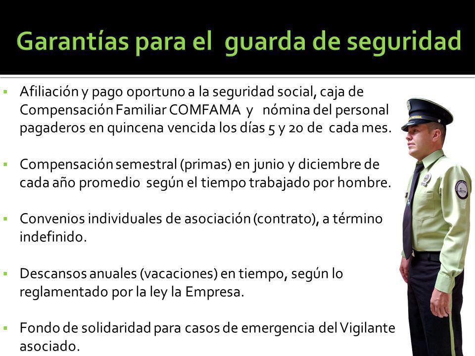 Afiliación y pago oportuno a la seguridad social, caja de Compensación Familiar COMFAMA y nómina del personal pagaderos en quincena vencida los días 5 y 20 de cada mes.
