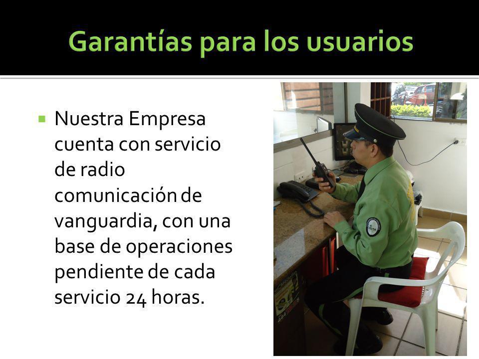 Nuestra Empresa cuenta con servicio de radio comunicación de vanguardia, con una base de operaciones pendiente de cada servicio 24 horas.