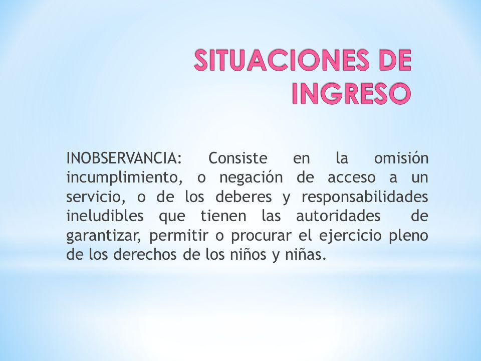 INOBSERVANCIA: Consiste en la omisión incumplimiento, o negación de acceso a un servicio, o de los deberes y responsabilidades ineludibles que tienen