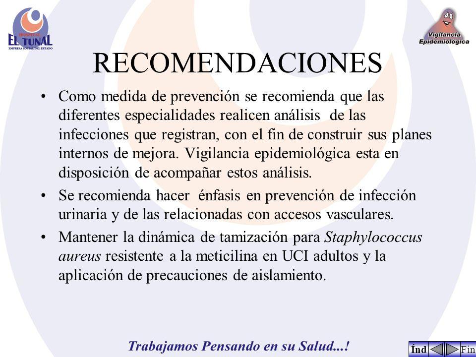 RECOMENDACIONES Como medida de prevención se recomienda que las diferentes especialidades realicen análisis de las infecciones que registran, con el fin de construir sus planes internos de mejora.
