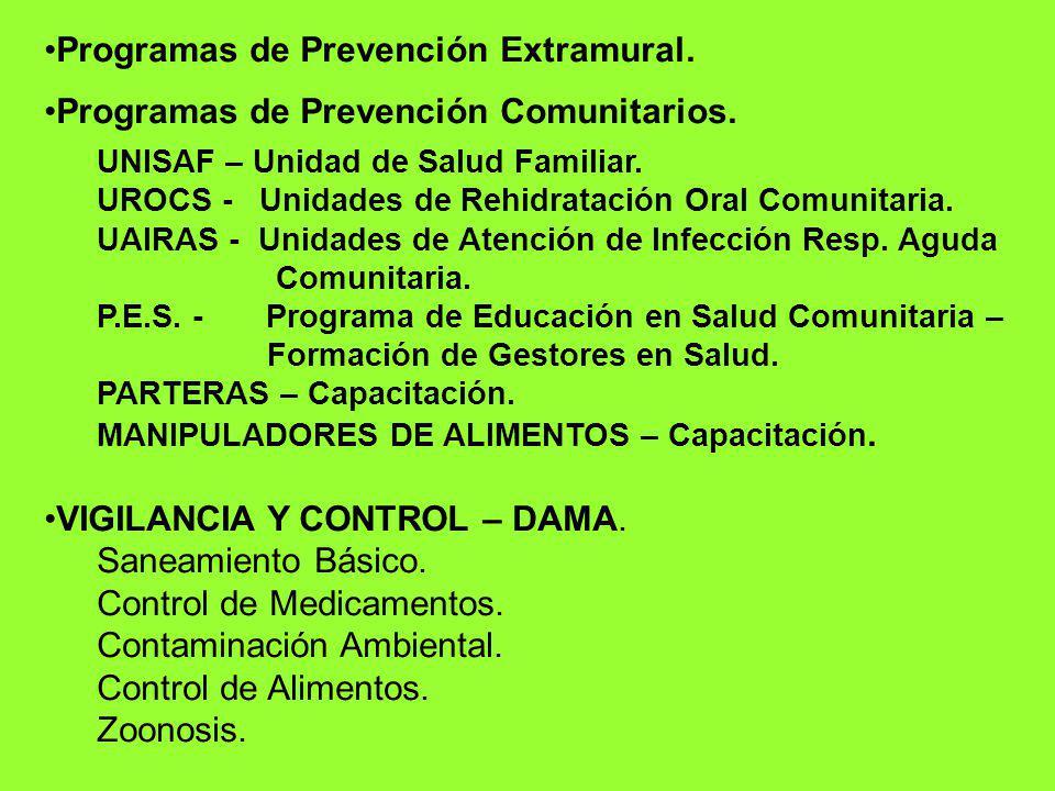Programas de Prevención Extramural. Programas de Prevención Comunitarios. UNISAF – Unidad de Salud Familiar. UROCS - Unidades de Rehidratación Oral Co