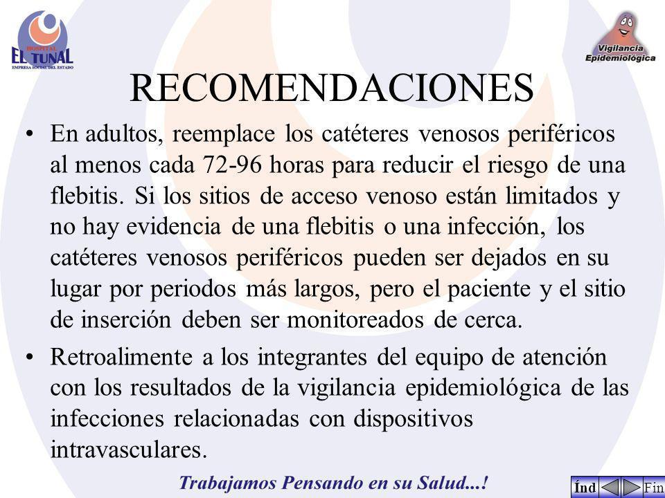 RECOMENDACIONES En adultos, reemplace los catéteres venosos periféricos al menos cada 72-96 horas para reducir el riesgo de una flebitis. Si los sitio