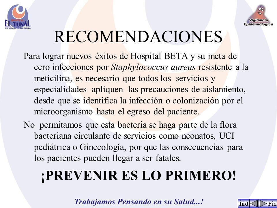 RECOMENDACIONES Para lograr nuevos éxitos de Hospital BETA y su meta de cero infecciones por Staphylococcus aureus resistente a la meticilina, es nece