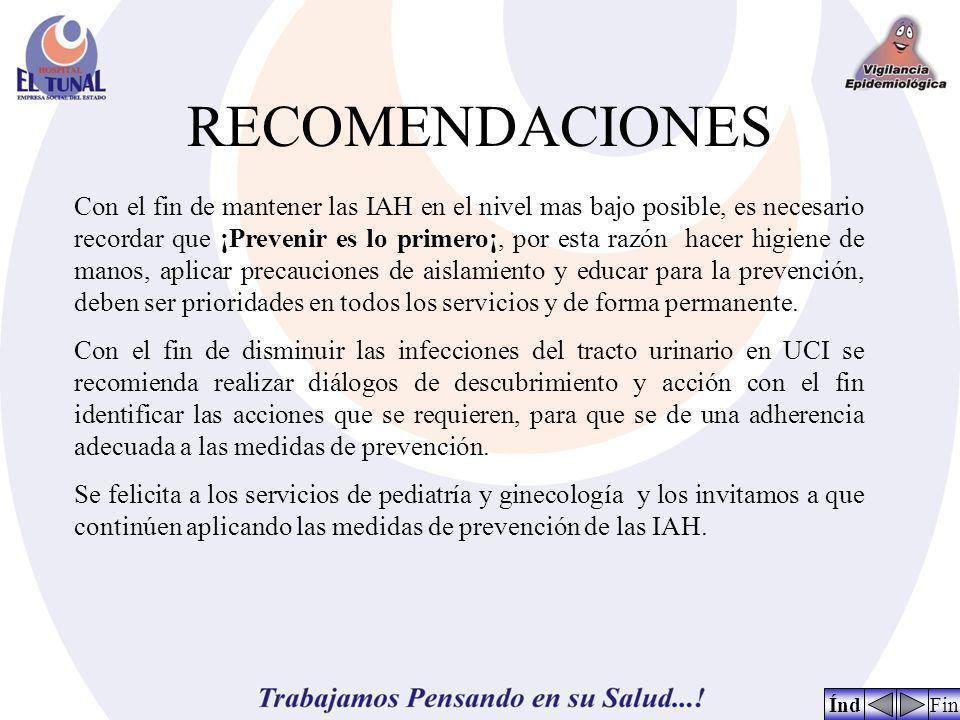 RECOMENDACIONES FinÍnd Con el fin de mantener las IAH en el nivel mas bajo posible, es necesario recordar que ¡Prevenir es lo primero¡, por esta razón