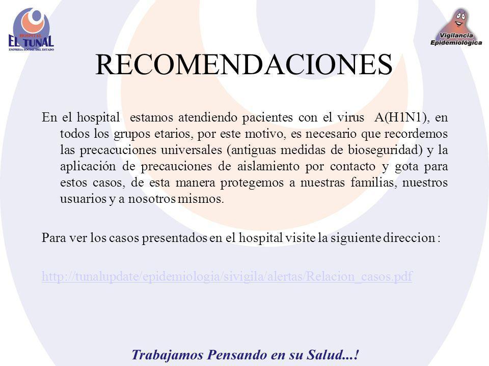 RECOMENDACIONES En el hospital estamos atendiendo pacientes con el virus A(H1N1), en todos los grupos etarios, por este motivo, es necesario que recor