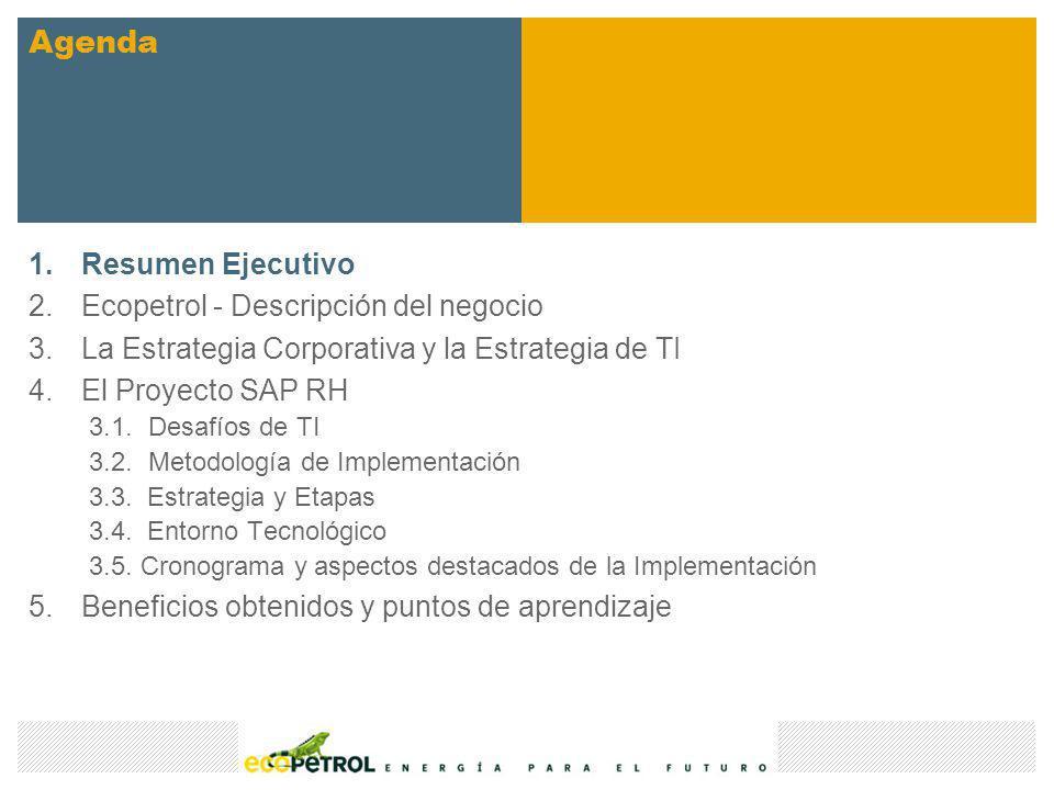 1.Resumen Ejecutivo 2.Ecopetrol - Descripción del negocio 3.La Estrategia Corporativa y la Estrategia de TI 4.El Proyecto SAP RH 3.1.Desafíos de TI 3.2.Metodología de Implementación 3.3.