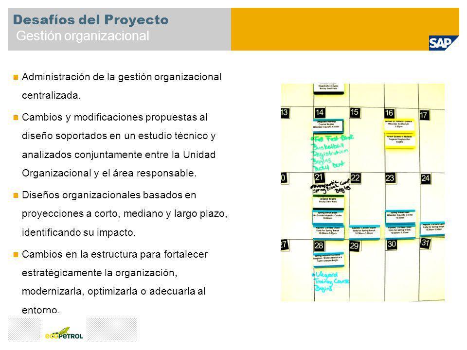 Desafíos del Proyecto Gestión organizacional Administración de la gestión organizacional centralizada. Cambios y modificaciones propuestas al diseño s