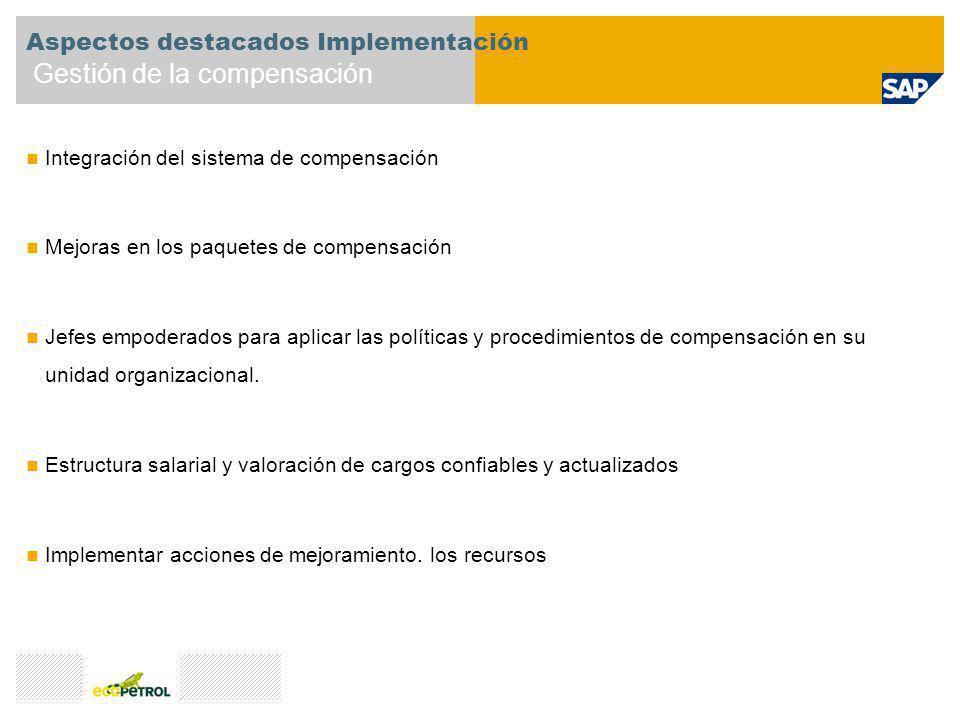 Integración del sistema de compensación Mejoras en los paquetes de compensación Jefes empoderados para aplicar las políticas y procedimientos de compe