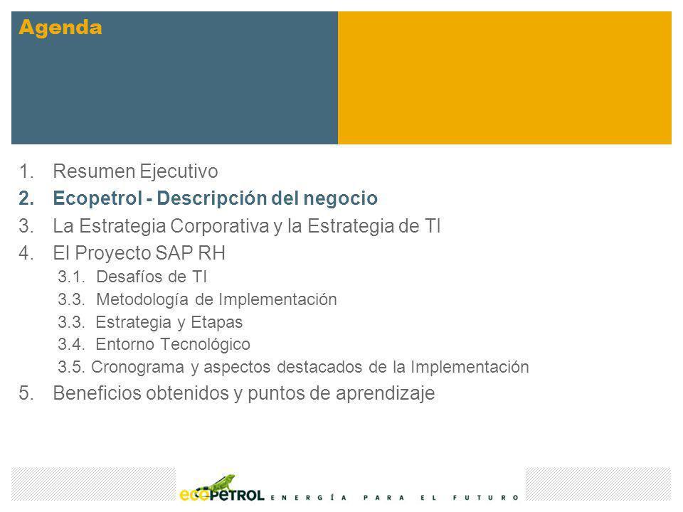 1.Resumen Ejecutivo 2.Ecopetrol - Descripción del negocio 3.La Estrategia Corporativa y la Estrategia de TI 4.El Proyecto SAP RH 3.1.Desafíos de TI 3.
