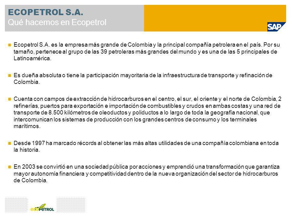 Ecopetrol S.A. es la empresa más grande de Colombia y la principal compañía petrolera en el país. Por su tamaño, pertenece al grupo de las 39 petroler