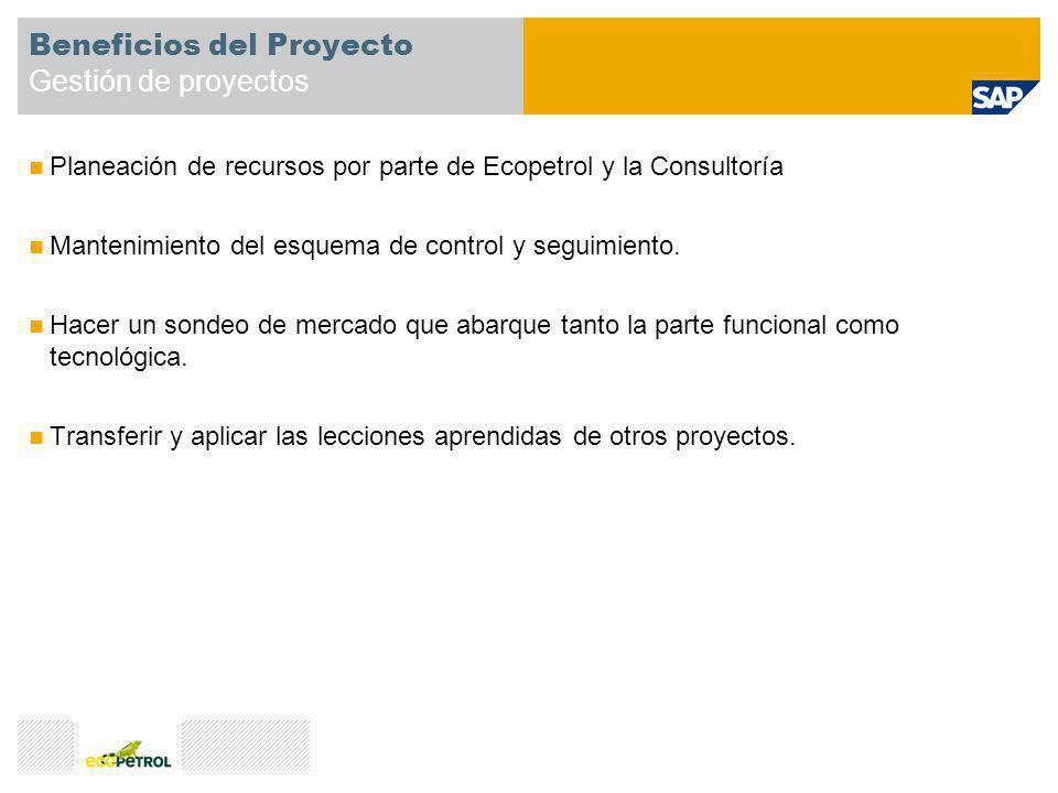 Planeación de recursos por parte de Ecopetrol y la Consultoría Mantenimiento del esquema de control y seguimiento. Hacer un sondeo de mercado que abar