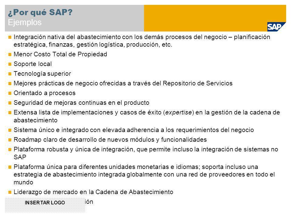 Integración nativa del abastecimiento con los demás procesos del negocio – planificación estratégica, finanzas, gestión logística, producción, etc. Me