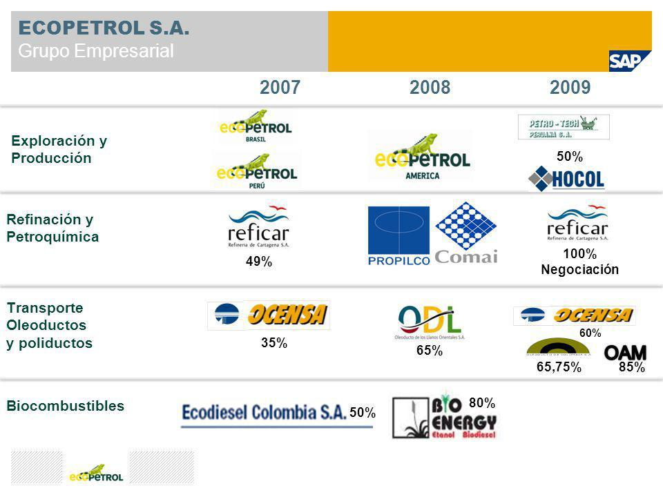 ECOPETROL S.A. Grupo Empresarial Divulgación de la estrategia Exploración y Producción Refinación y Petroquímica Transporte Oleoductos y poliductos Bi