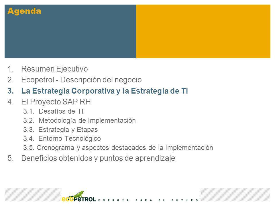 Desafíos del Proyecto Gestión de eventos Presupuesto asignado alineado con la estrategia de Ecopetrol S.A.