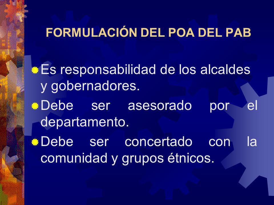 FORMULACIÓN DEL POA DEL PAB Es responsabilidad de los alcaldes y gobernadores.