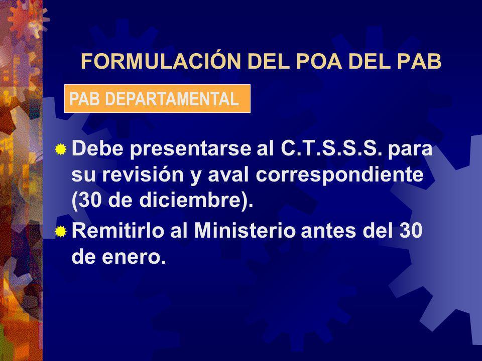 FORMULACIÓN DEL POA DEL PAB Debe presentarse al C.T.S.S.S.